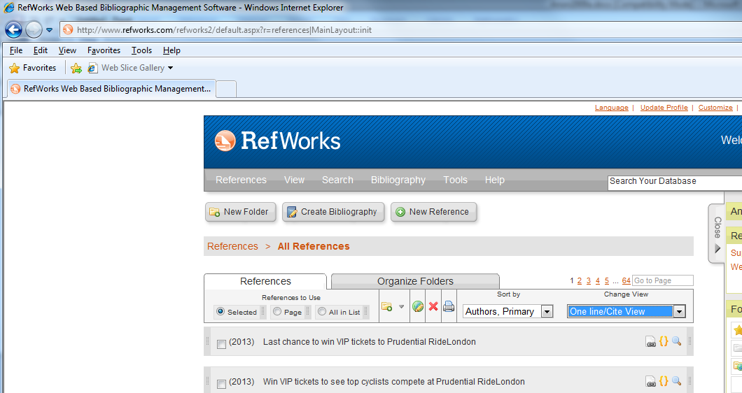 RefWorks One Line / Cite View