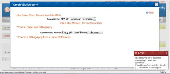 RefWorks create bibliography error