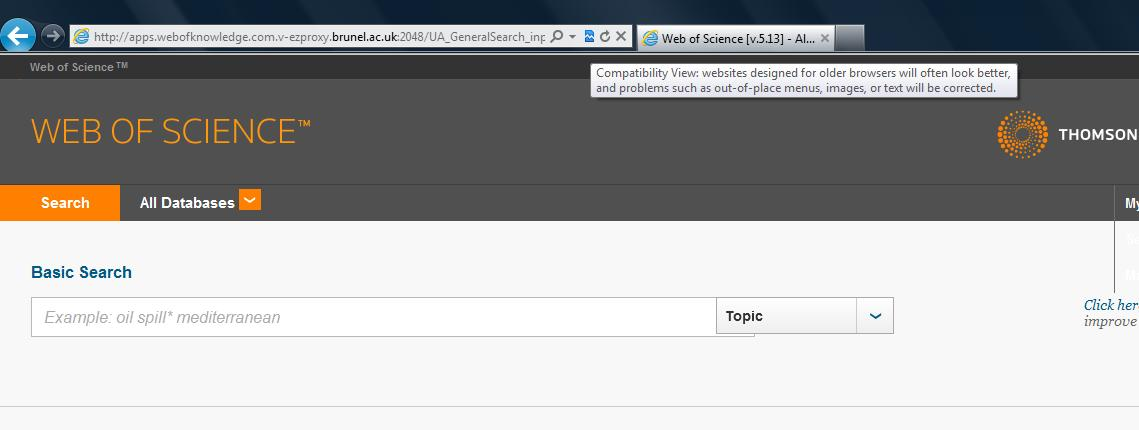 IE9 and Web of Science with Compatibility View selected