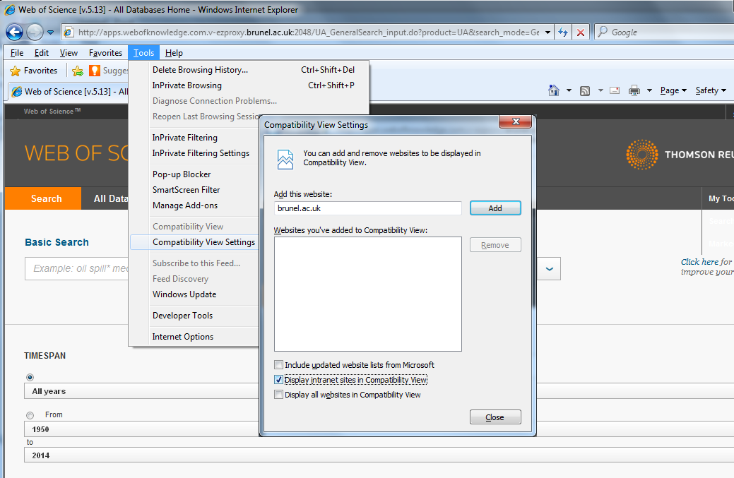 Web of Science 5.13 - changing Compatability View setting