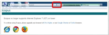 Screenshot of message users get when linking to Scopus via the internet explorer browser saying that in order to use scopus users should upgrade their browser as Scopus no longer supports internet explorer 7. Compatibility view button is highlighted.