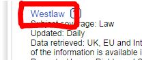 screenshot of link to Westlaw database from MMU library website